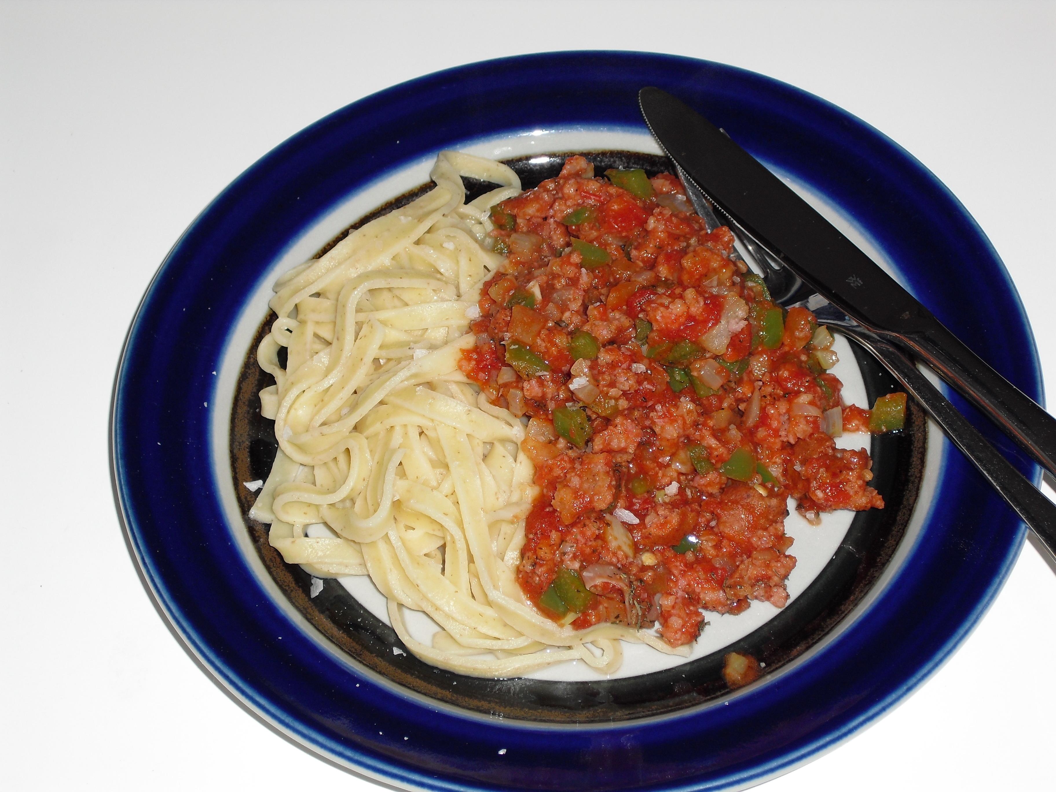 Isterbandssås och pasta