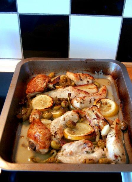 färsk kyckling citron paprika lagerblad oliver timjan