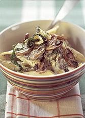 Pasta med spenat och svamp