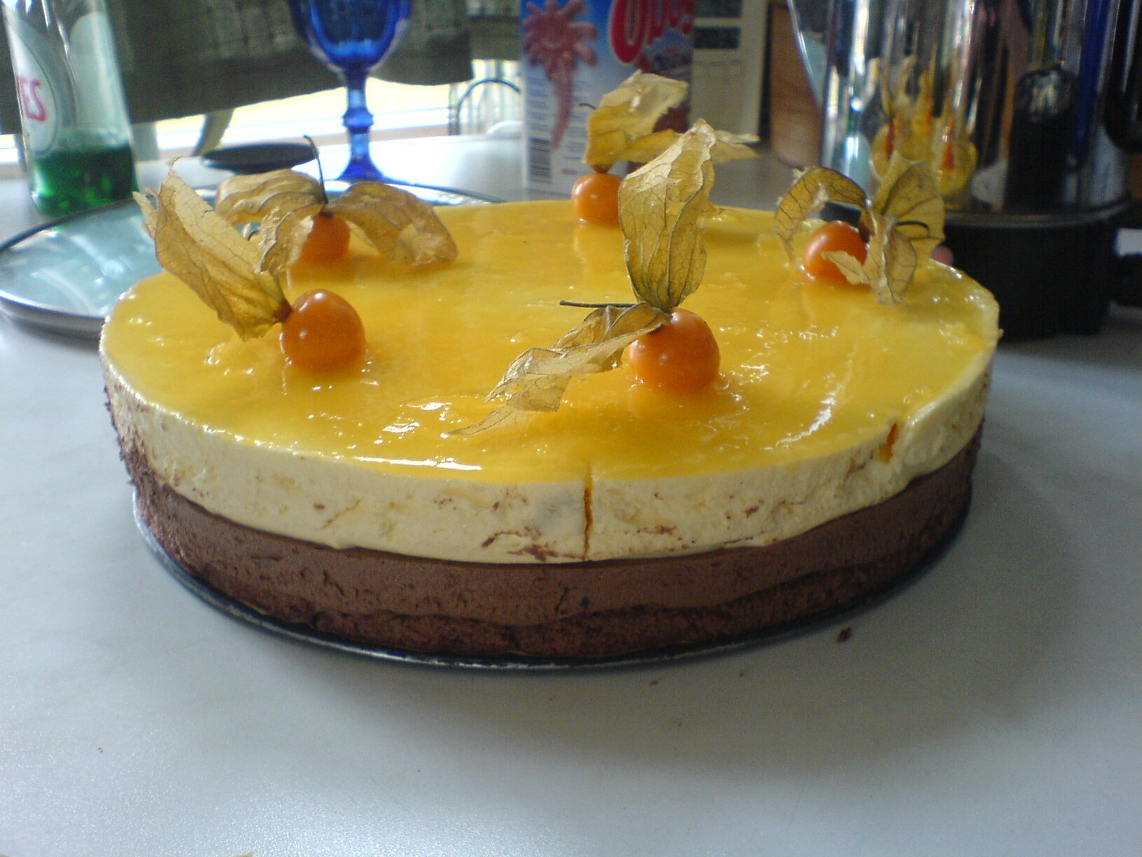 Moussetårta med choklad och mango