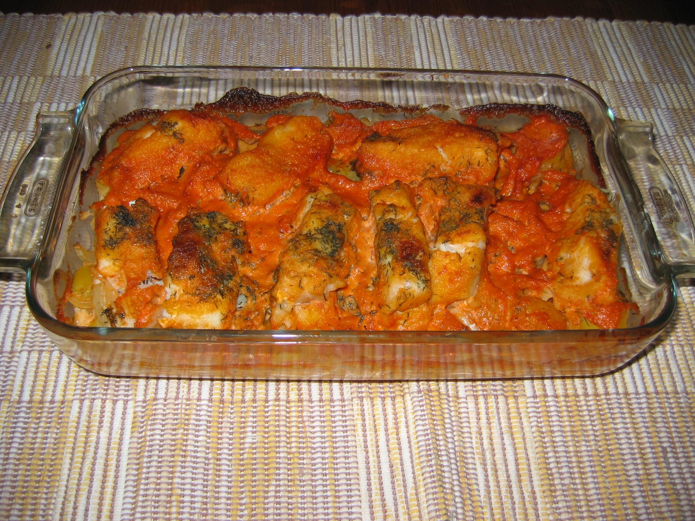 Fiskgryta med tomatgrädde