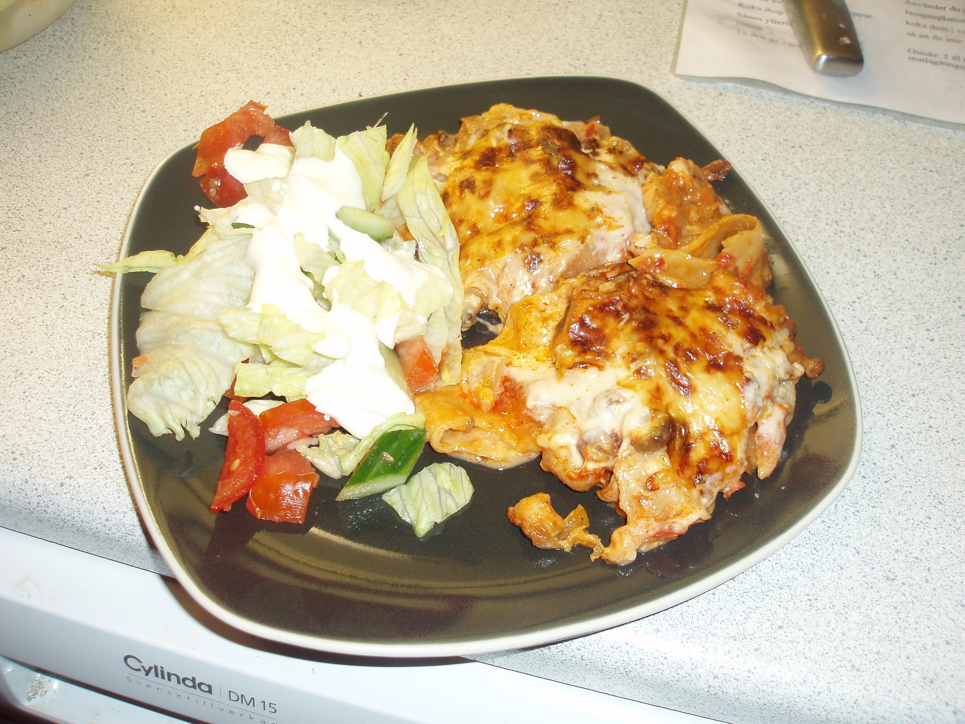 kycklinglasagne med kelda ostsås
