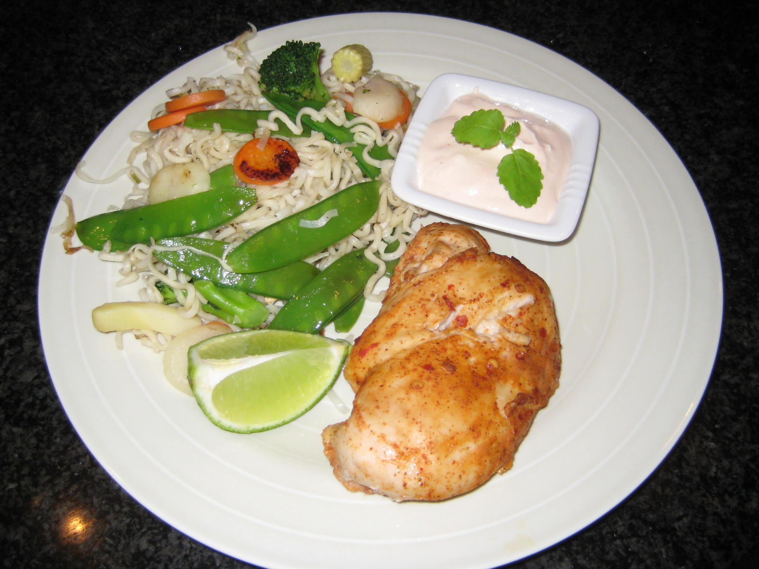 kyckling wokgrönsaker nudlar