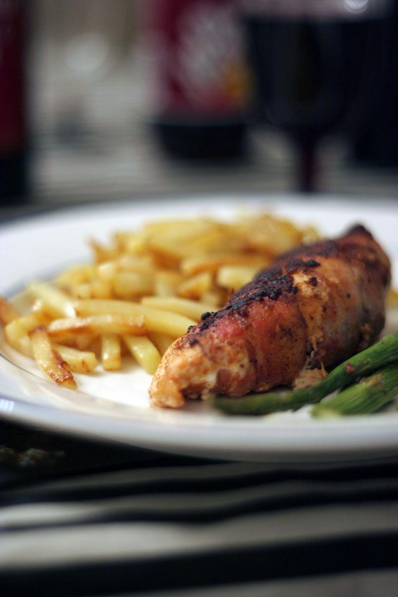 Cremefylld kycklingfilé inlindad i bacon