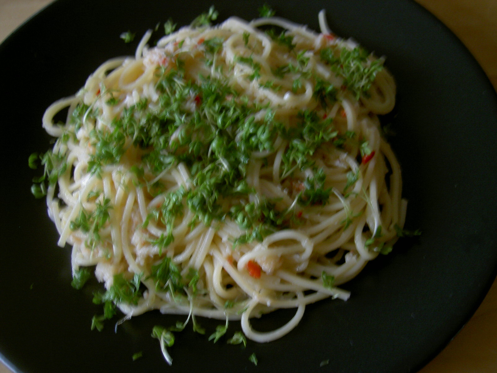 Linguine med krabba och chili!