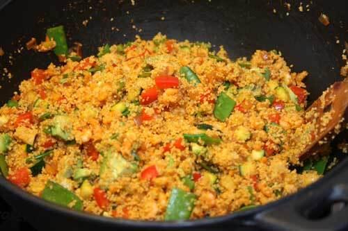 Harissacouscous med räkor och grönsaker