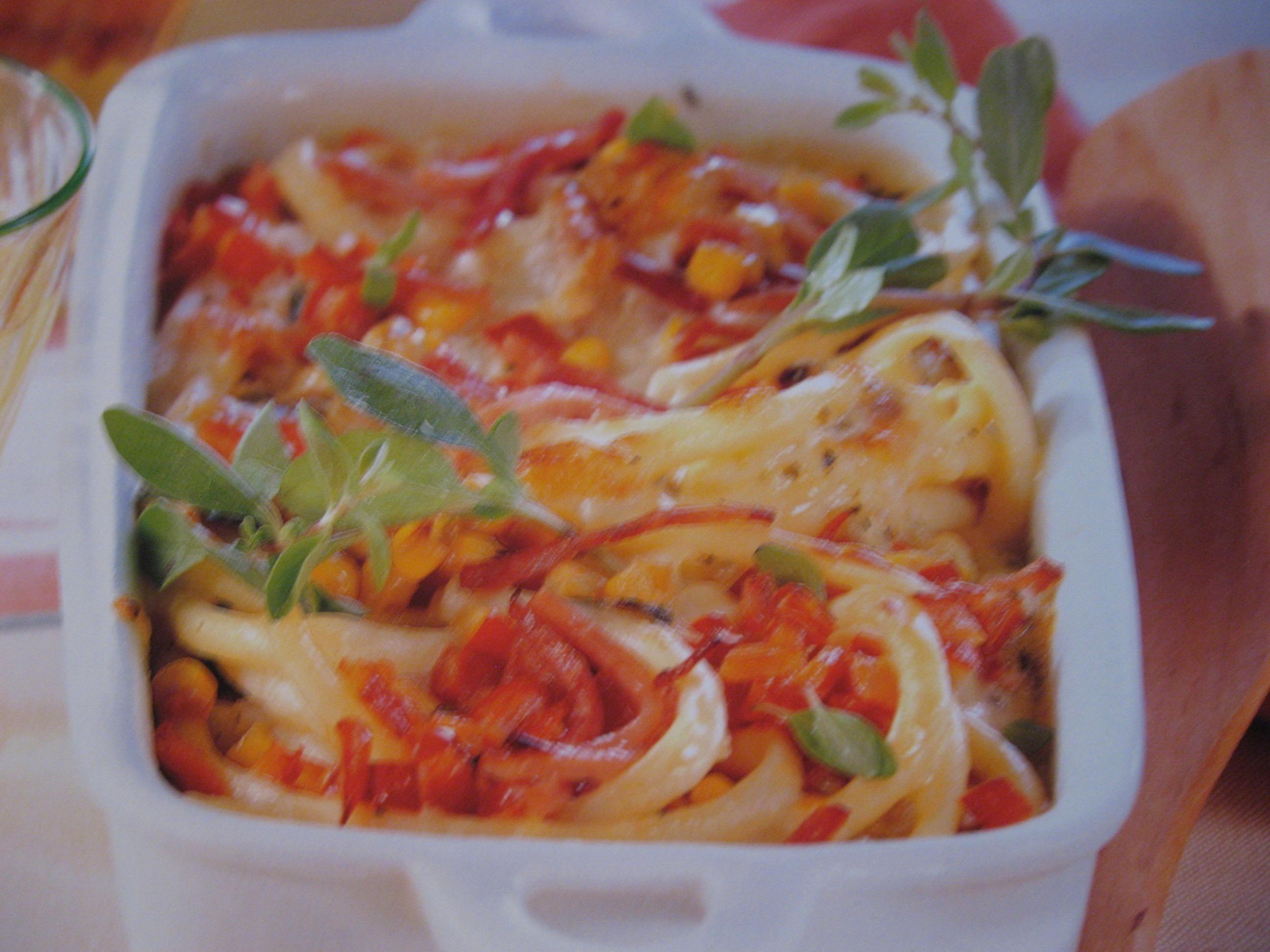 Pestokryddad gratäng med pasta