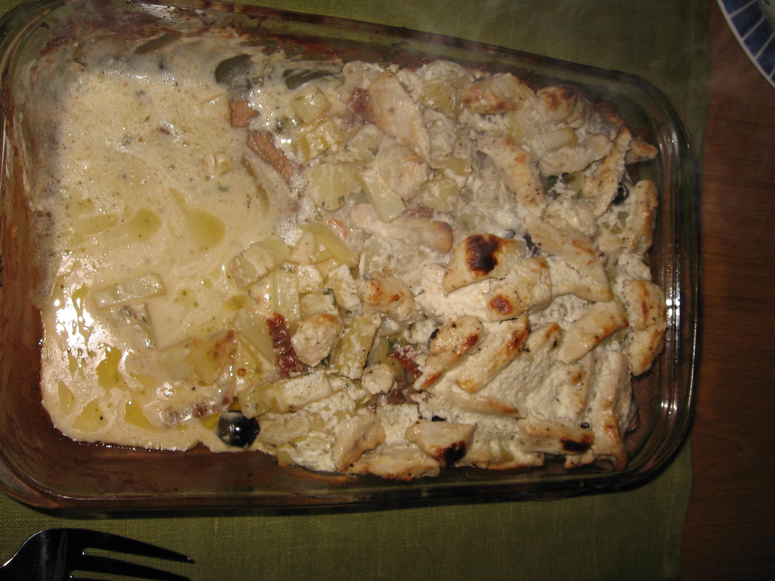 Kycklinggratäng med fetaost