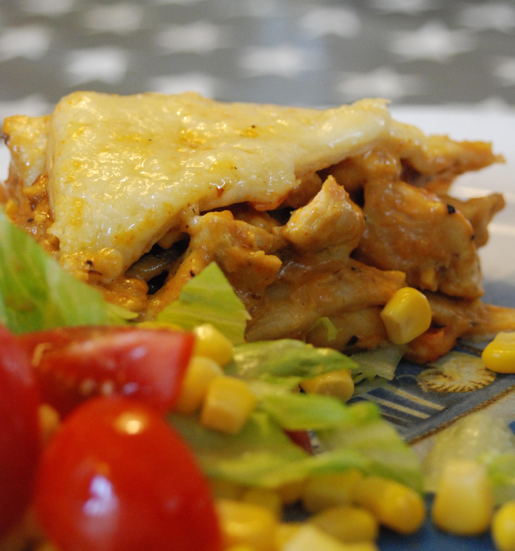 Kyckling och tortilla lasagne