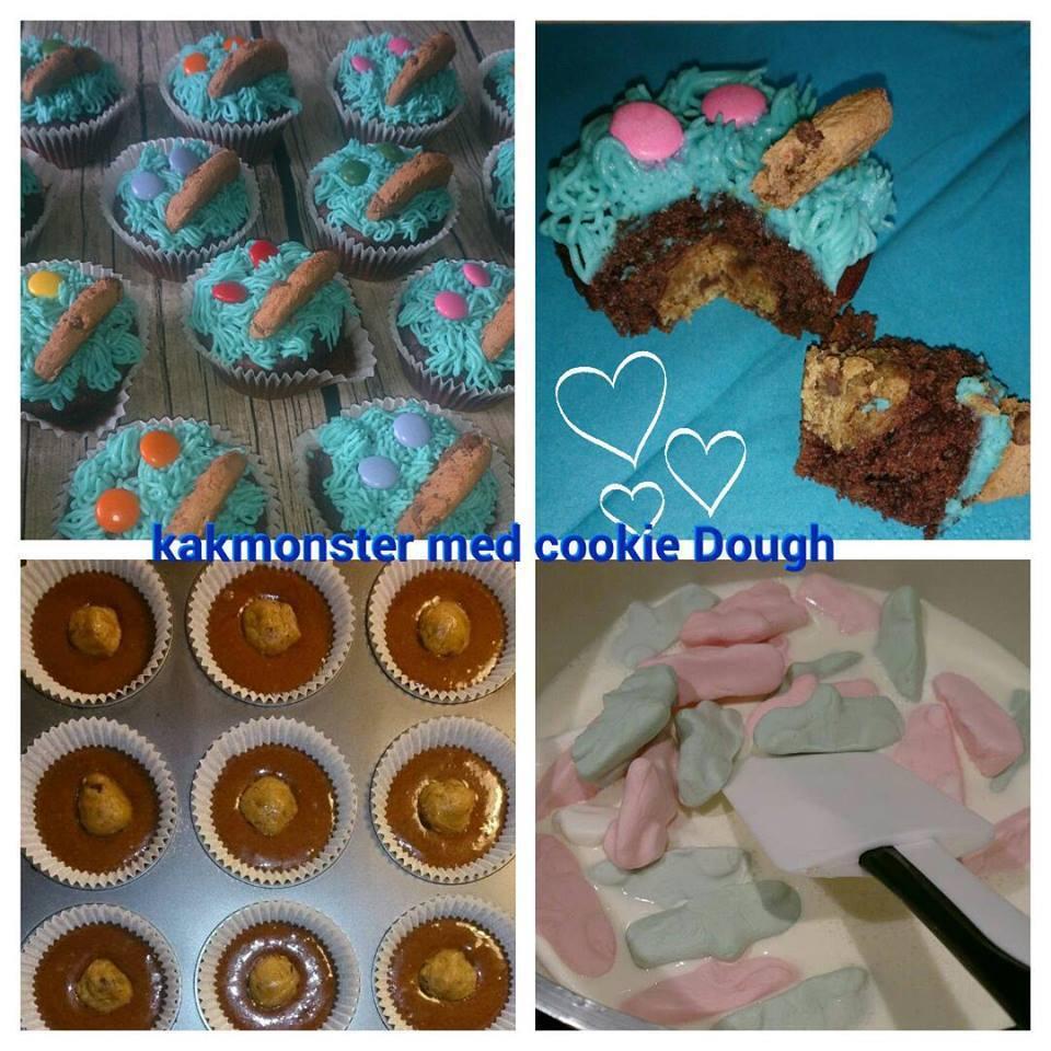 Kakmonster muffins med cookie dough och ahlgrensbil fluff
