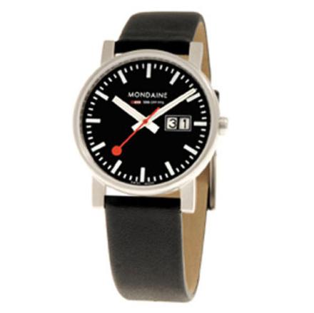Mondaine Evo Klocka / Armbandsur Herr 35mm Big Date Svart