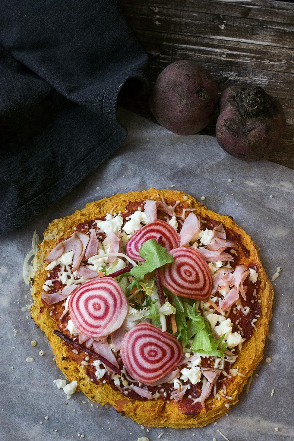 Glutenfri pizzabotten på sötpotatis