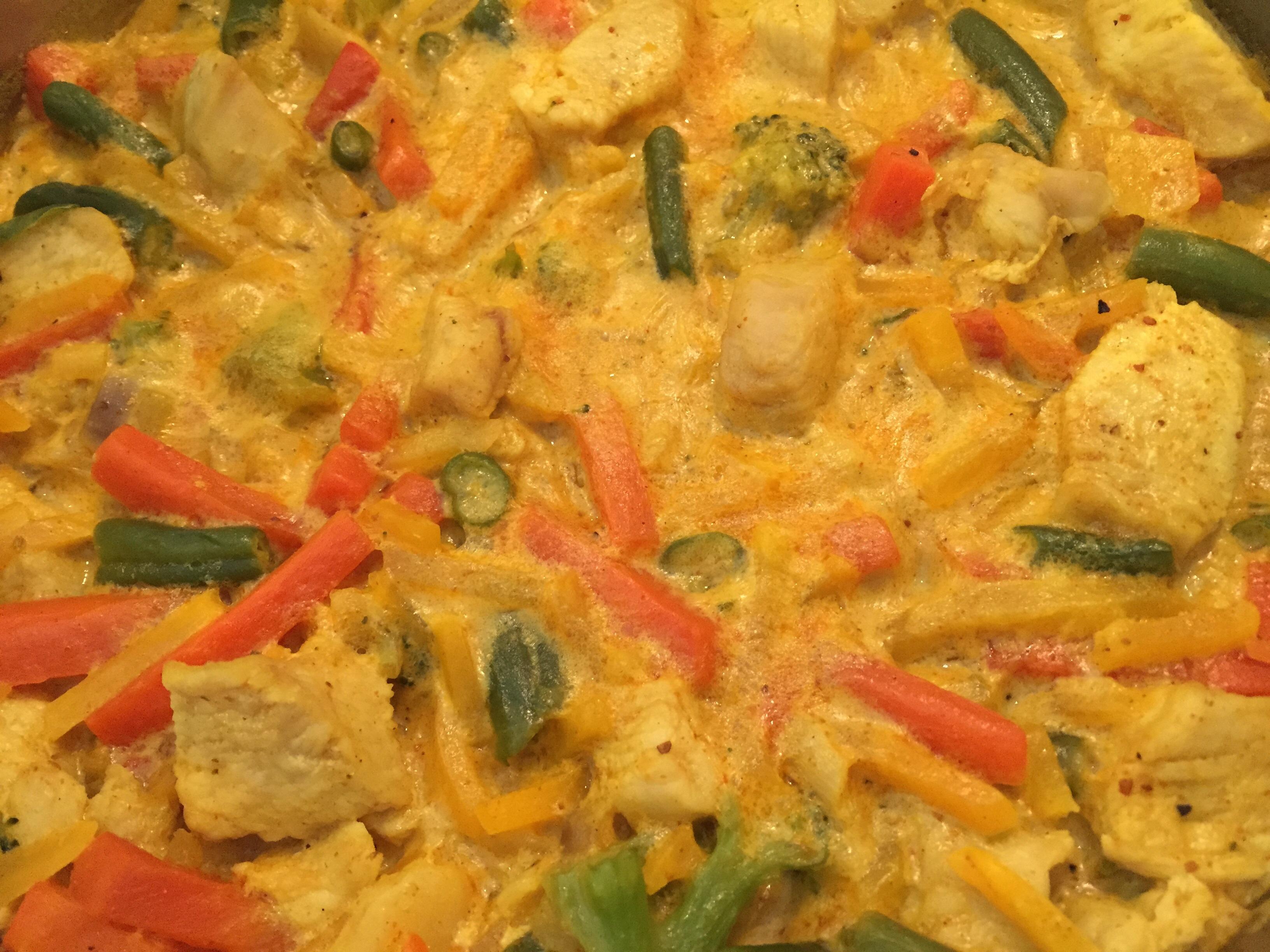 kyckling currygryta med pasta