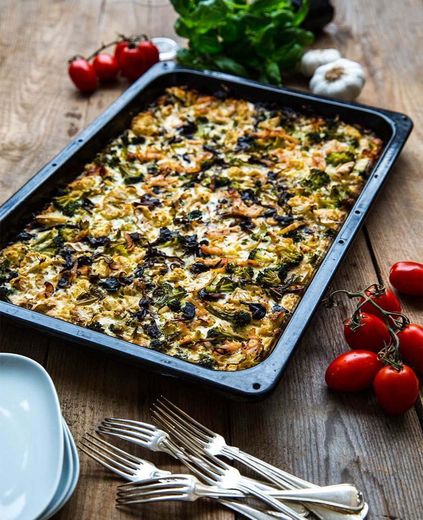 Gratäng med blomkål, broccoli och kalkon