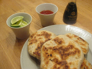 Sher ping pannkakor med lime, soya och sweet chilisås