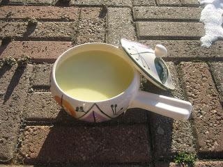 Potatis- och purjolökssoppa med crème fraiche
