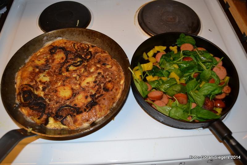 Spansk tortilla med chorizotopping