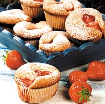 jordgubbsmuffins med frysta jordgubbar