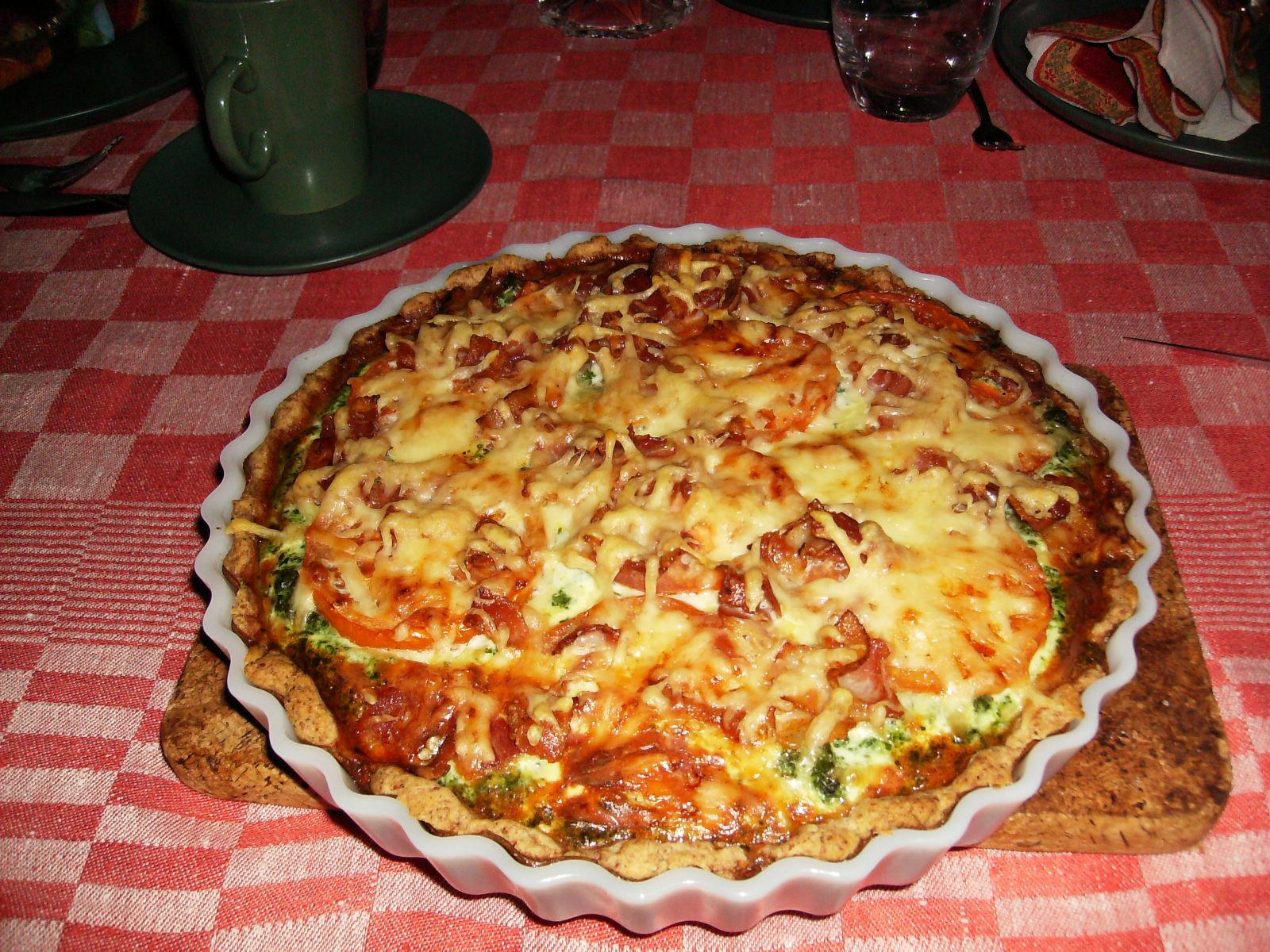 ost skink och spenat paj