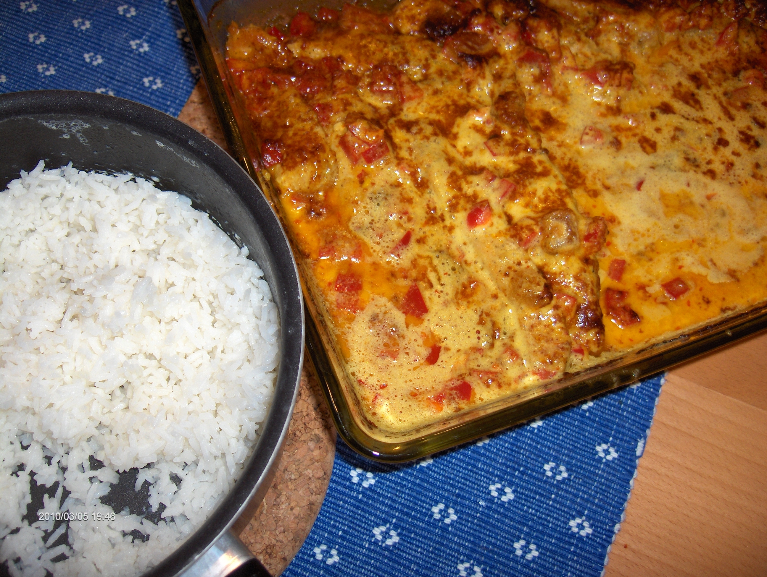 kyckling paprika grädde curry sambal vitlök mango chutney ugn 225 stek