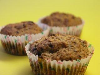 muffins choklad valnötter banan