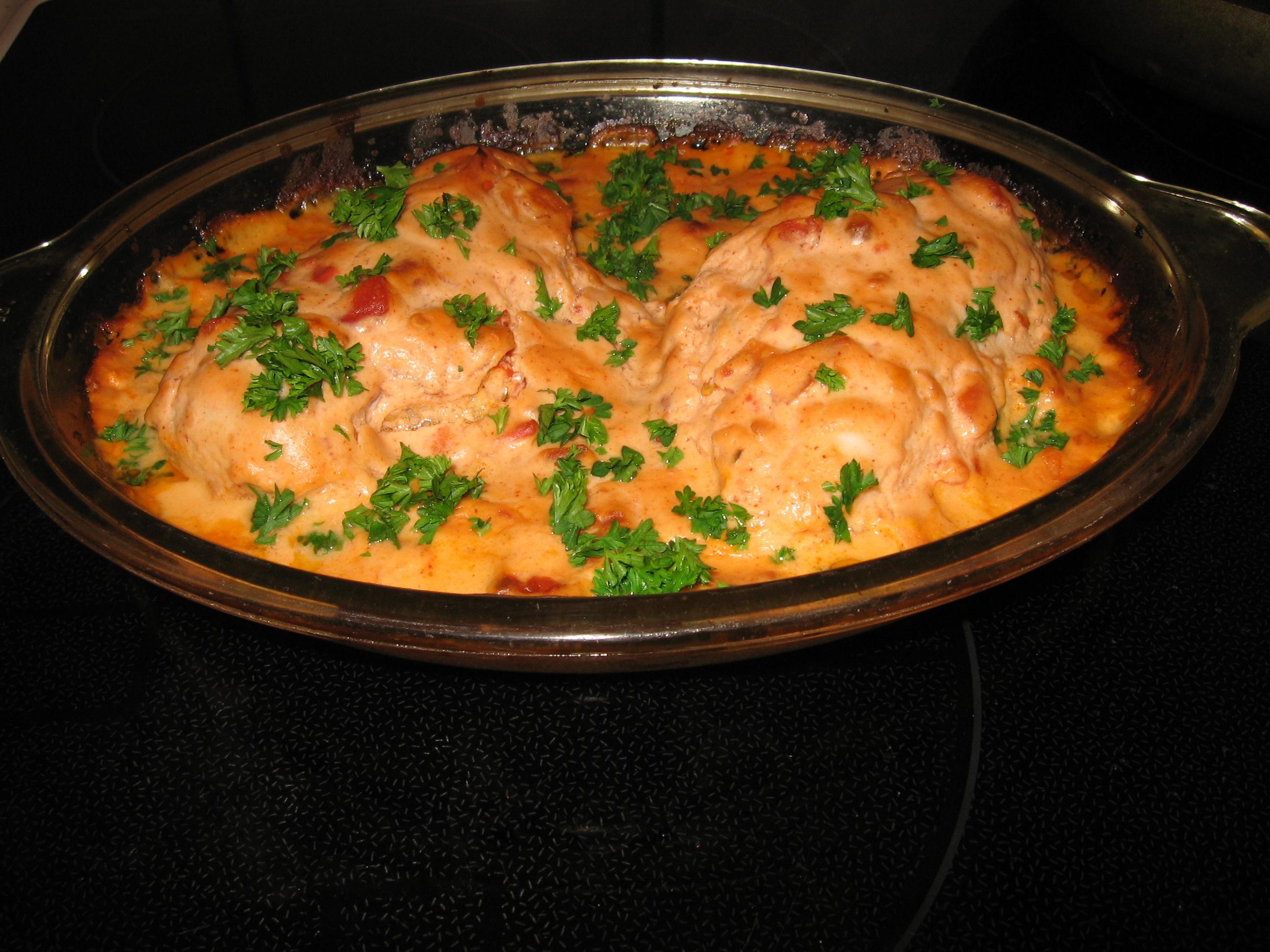 kyckling salsa creme fraiche
