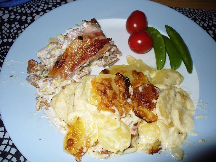 potatisgratäng bacon och purjolök