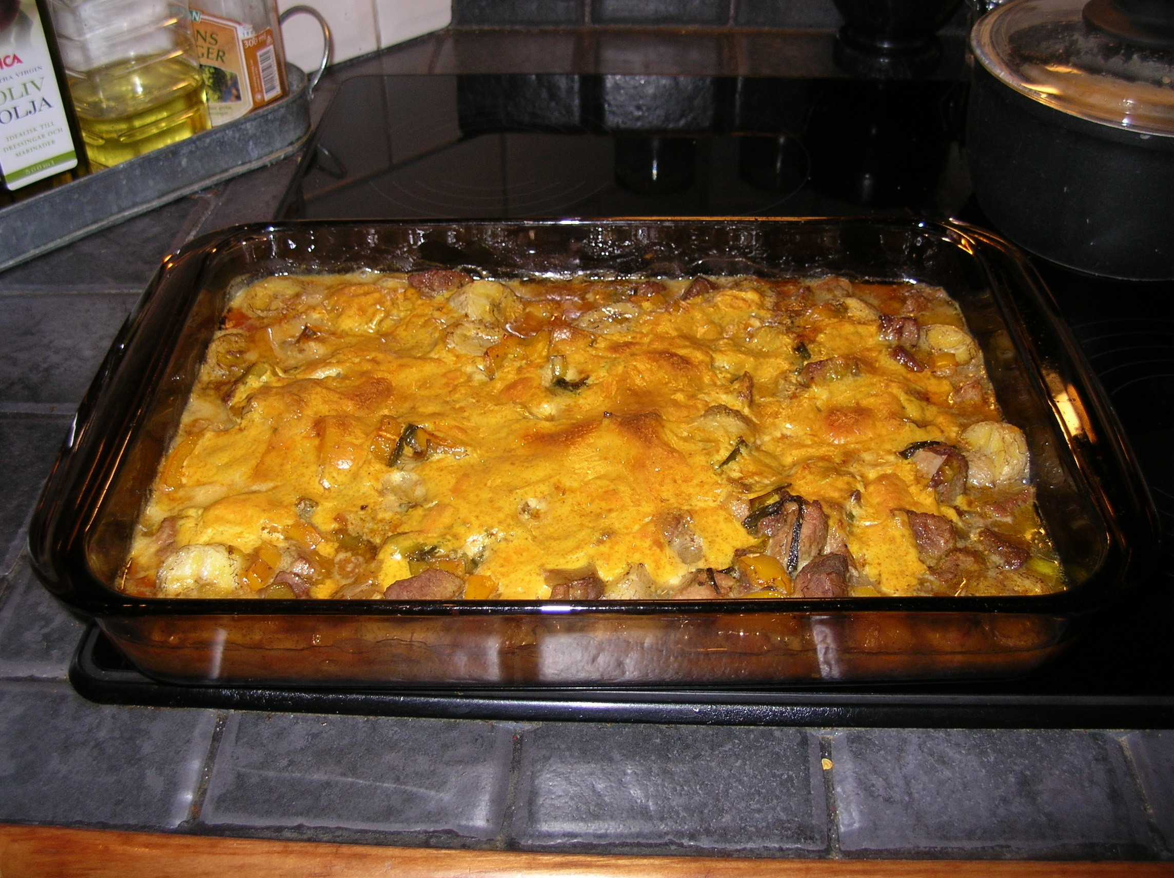 fläskfilé curry banan grädde ugn