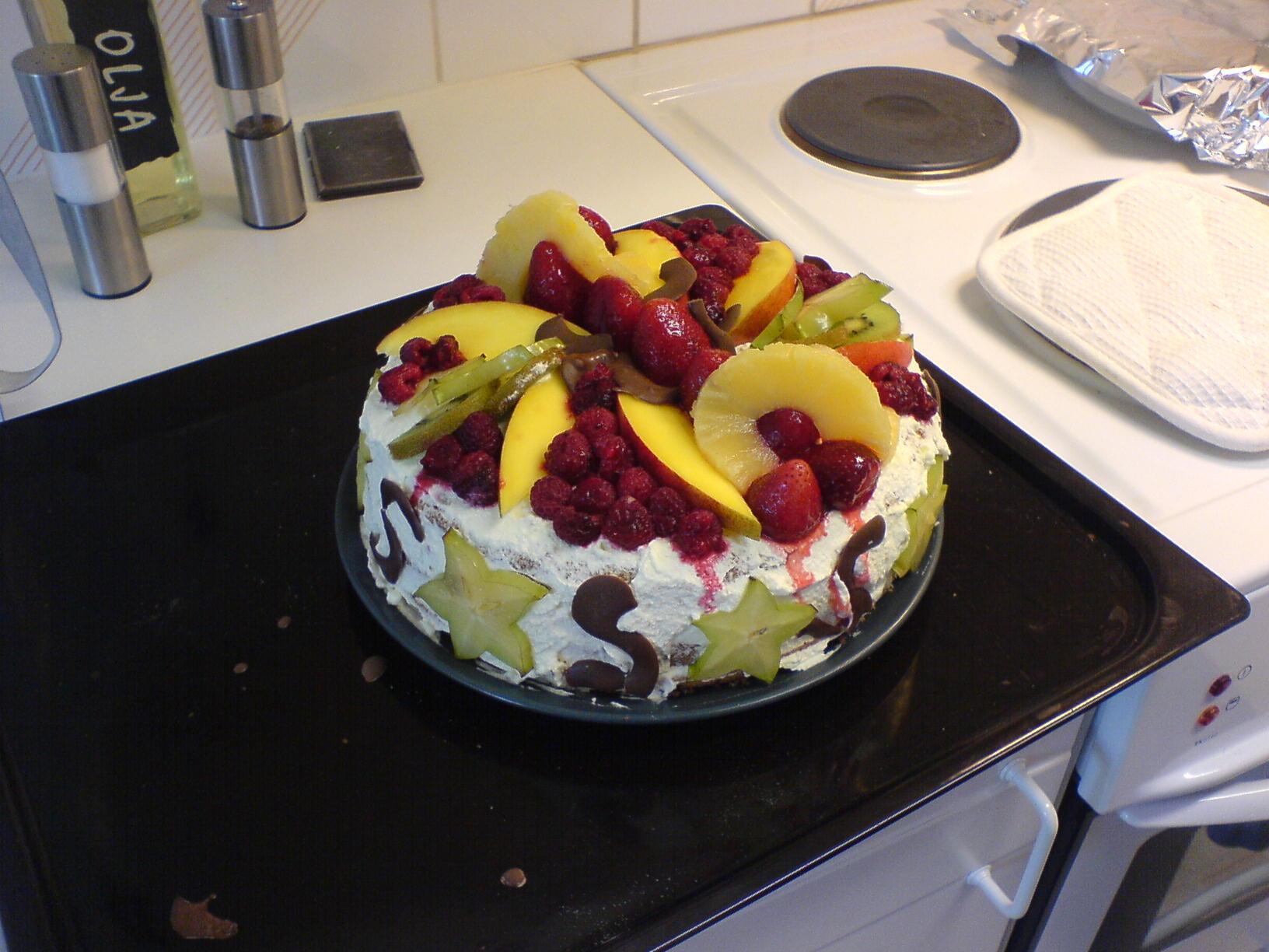 frukttårta med vaniljkräm