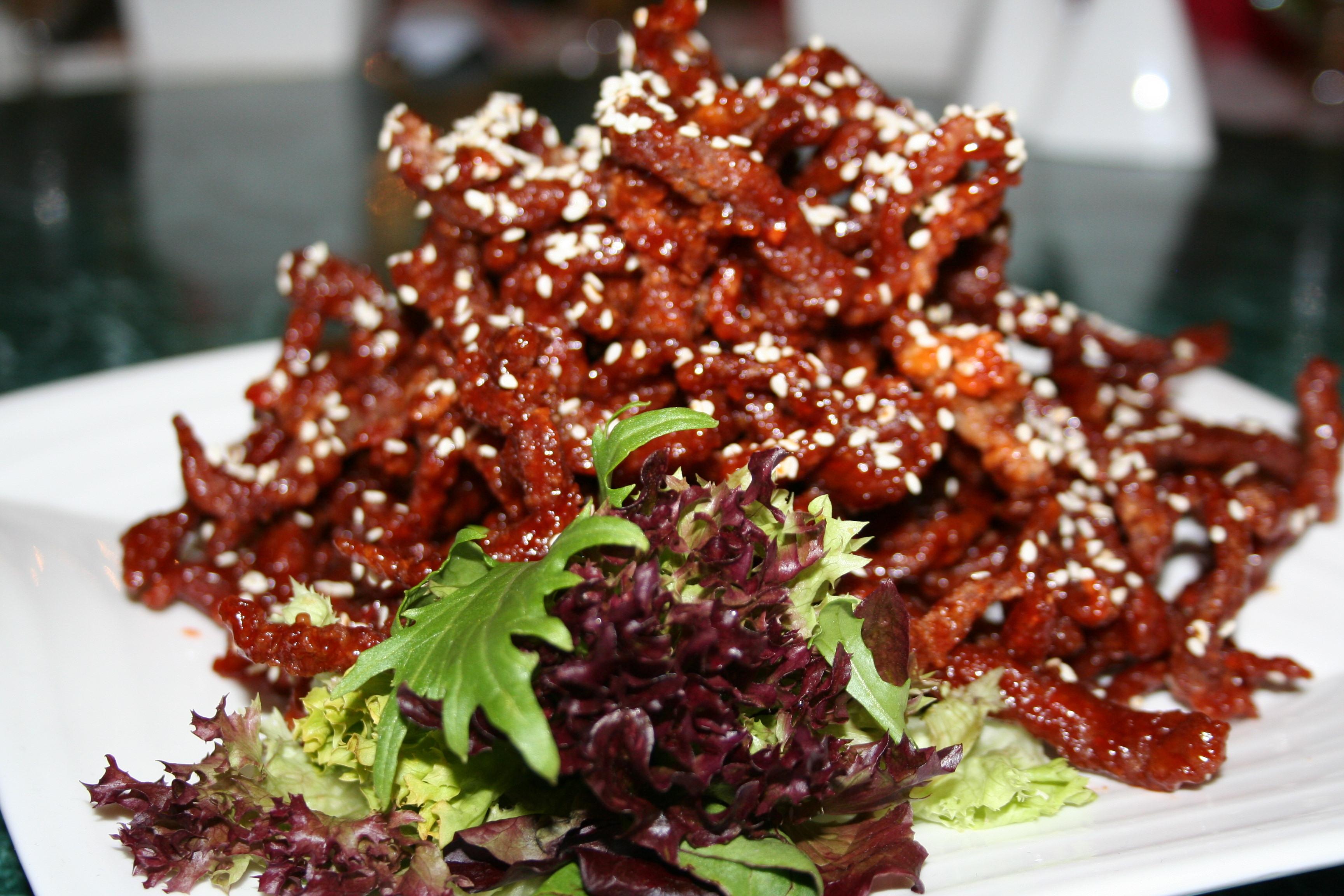 kinesisk strimlad biff med paprika