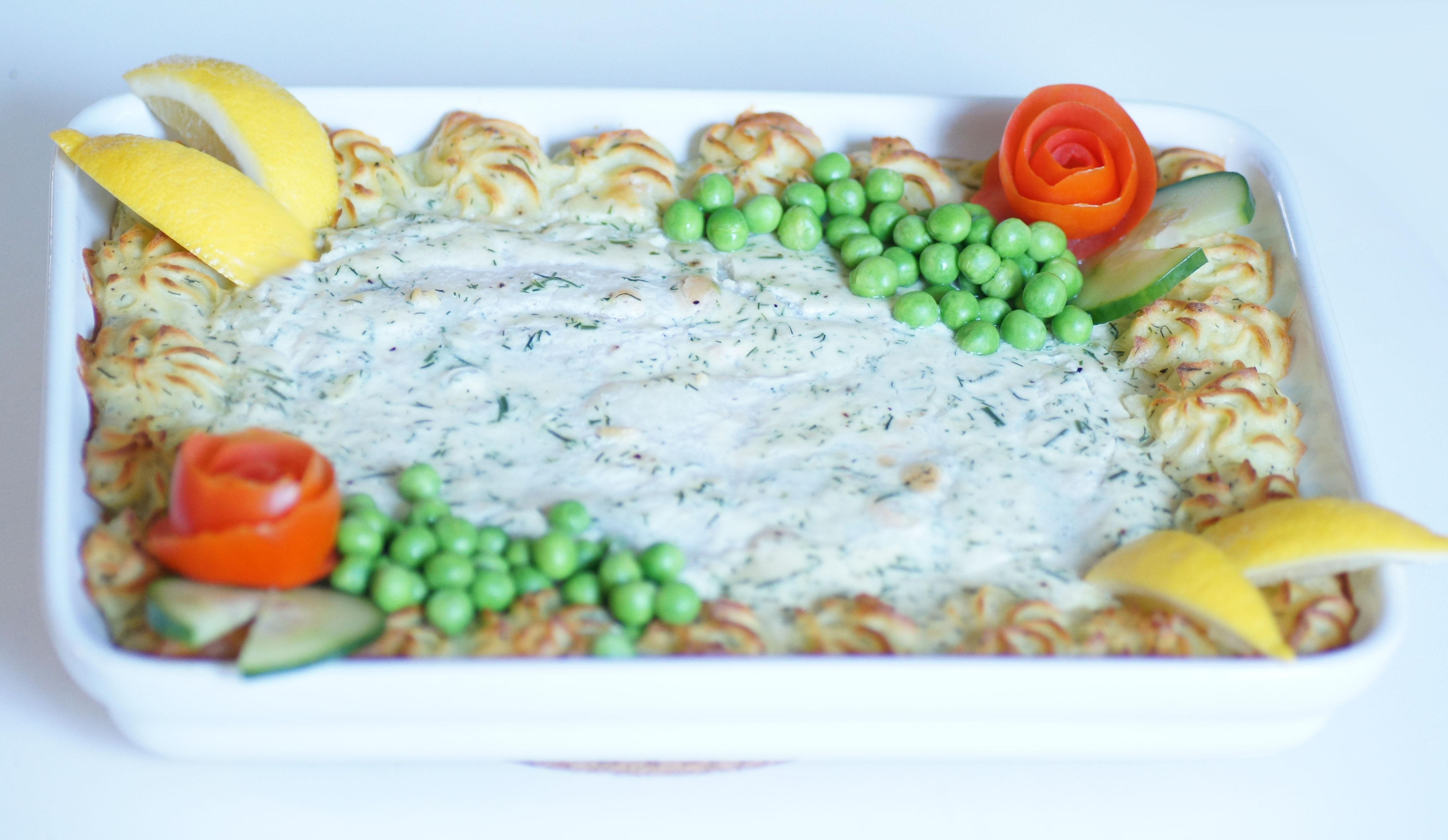 enkel fiskgratäng med potatismos