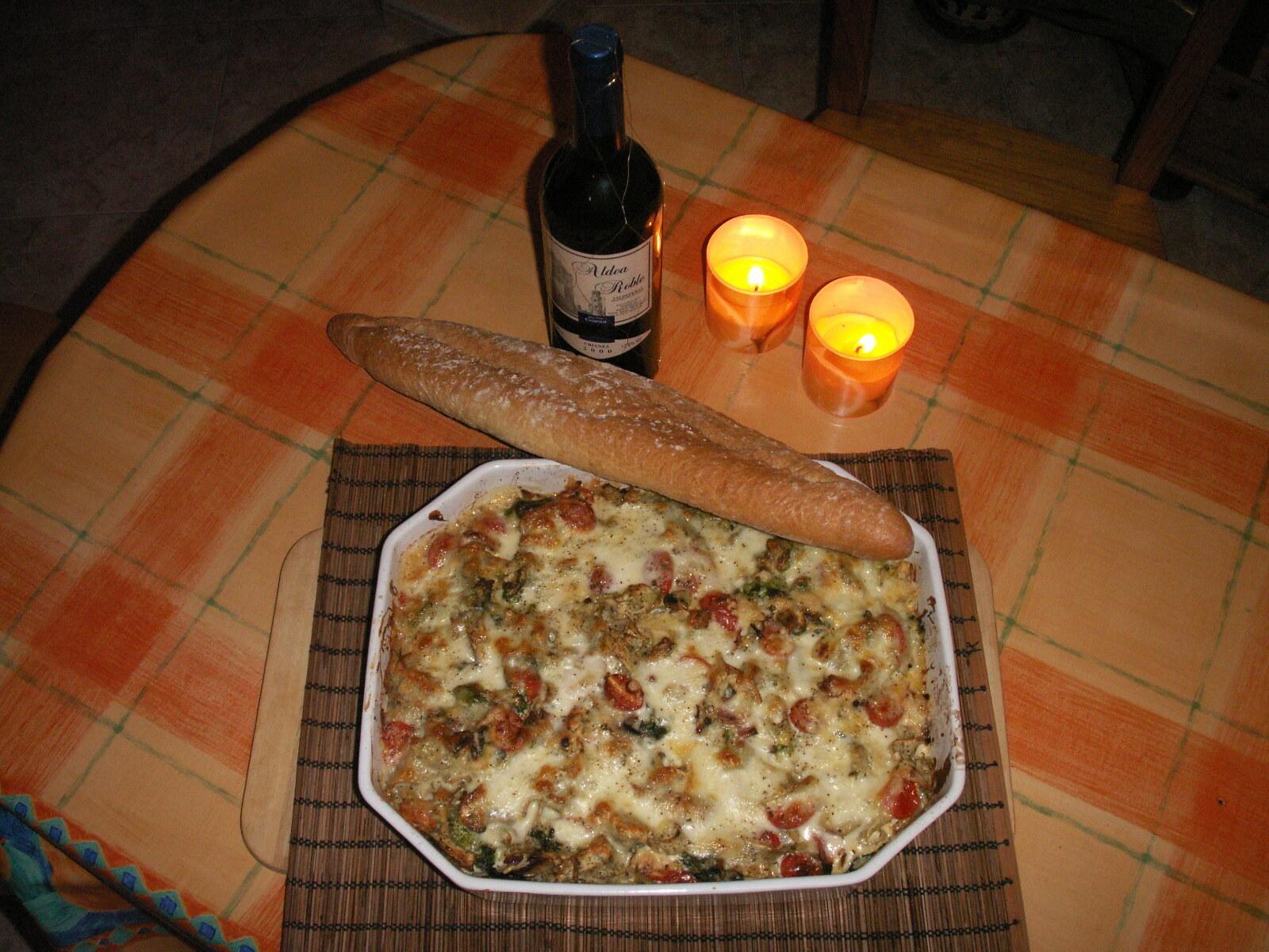 gratäng färsk pasta
