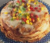 gratinerad pannkakstårta med köttfärs