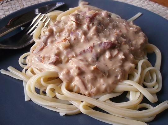 tonfisk creme fraiche paprika chili pasta