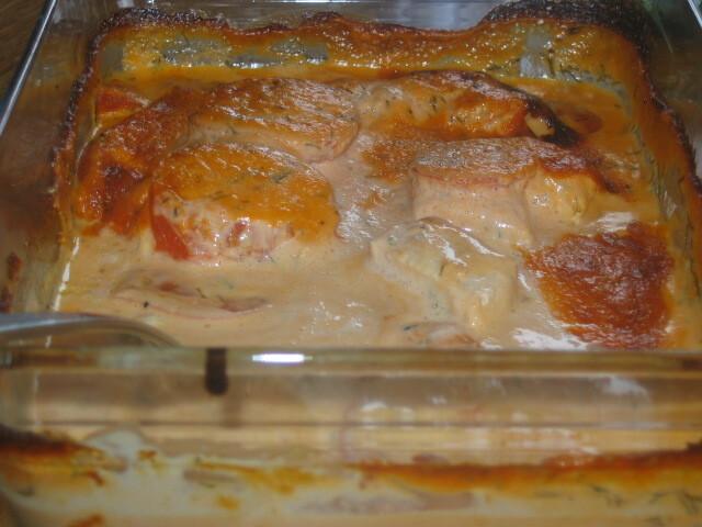 fisk i ugn med tomat och dill