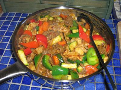 wokade grönsaker med räkor