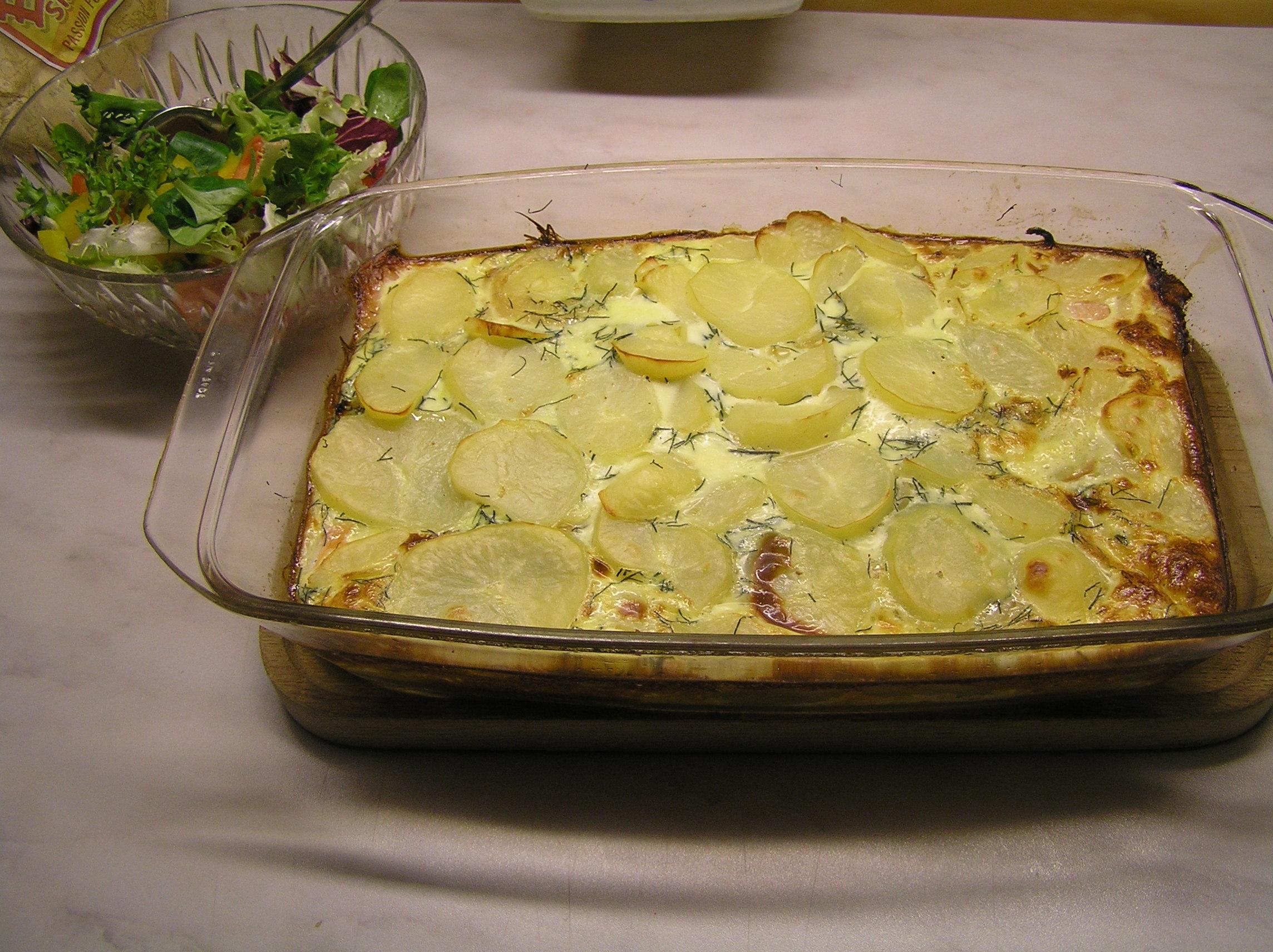 laxlåda med potatis och dill