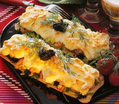 gratinerad smörgås räkor äggvita majonnäs