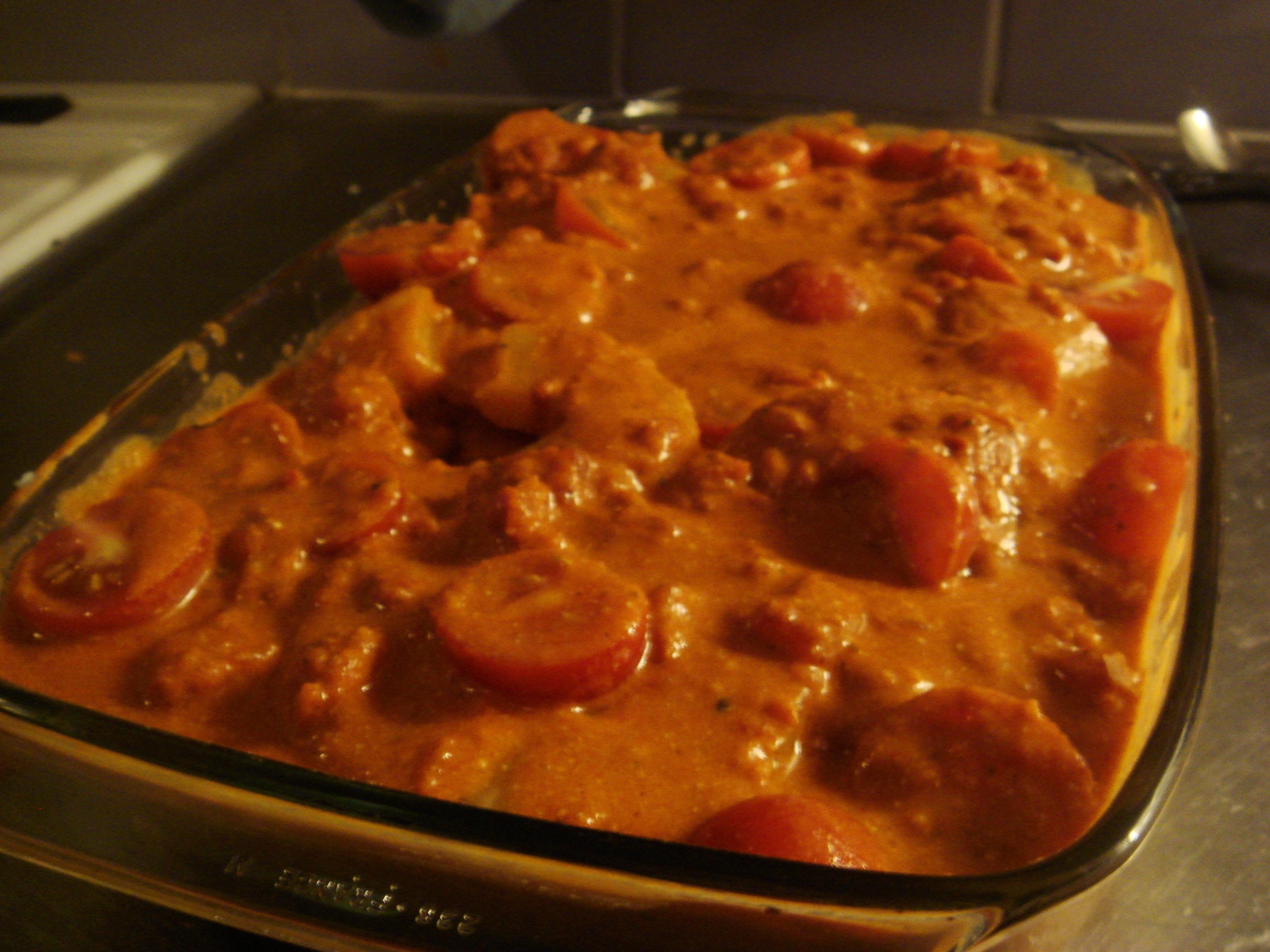 ris korv och tomatsås