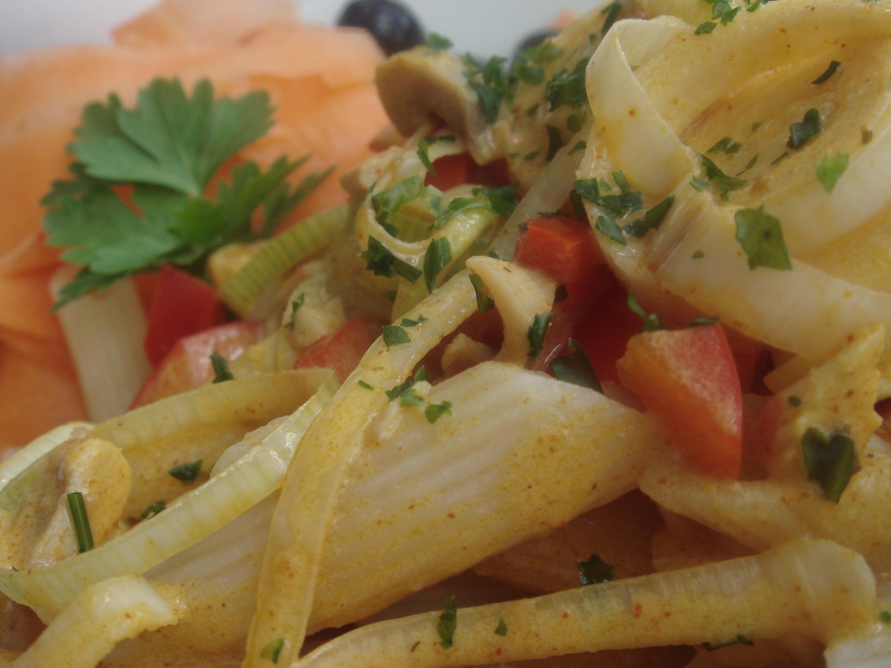 krämig kyckling pasta med curry