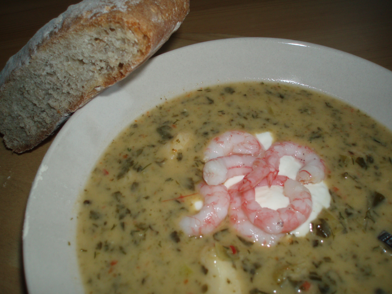 fisksoppa med grädde och pepparrot
