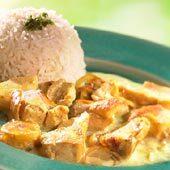kyckling creme fraiche mango chutney sambal banan curry