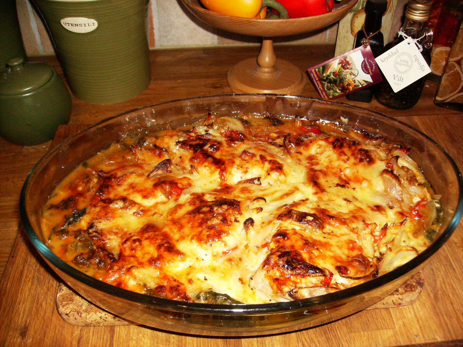 kyckling parmesan vitlök grädde sweet chili