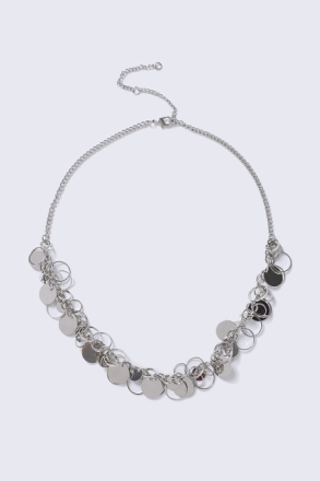 Silver Circle Interlink Necklace thumbnail