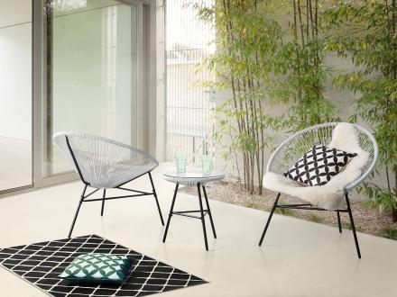 Trädgårdsmöbelset vit - utemöbler - balkongmöbler - bord + 2 stolar - ACAPULCO