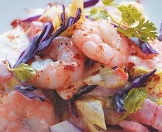 Shrimp salad vegetables yogurt