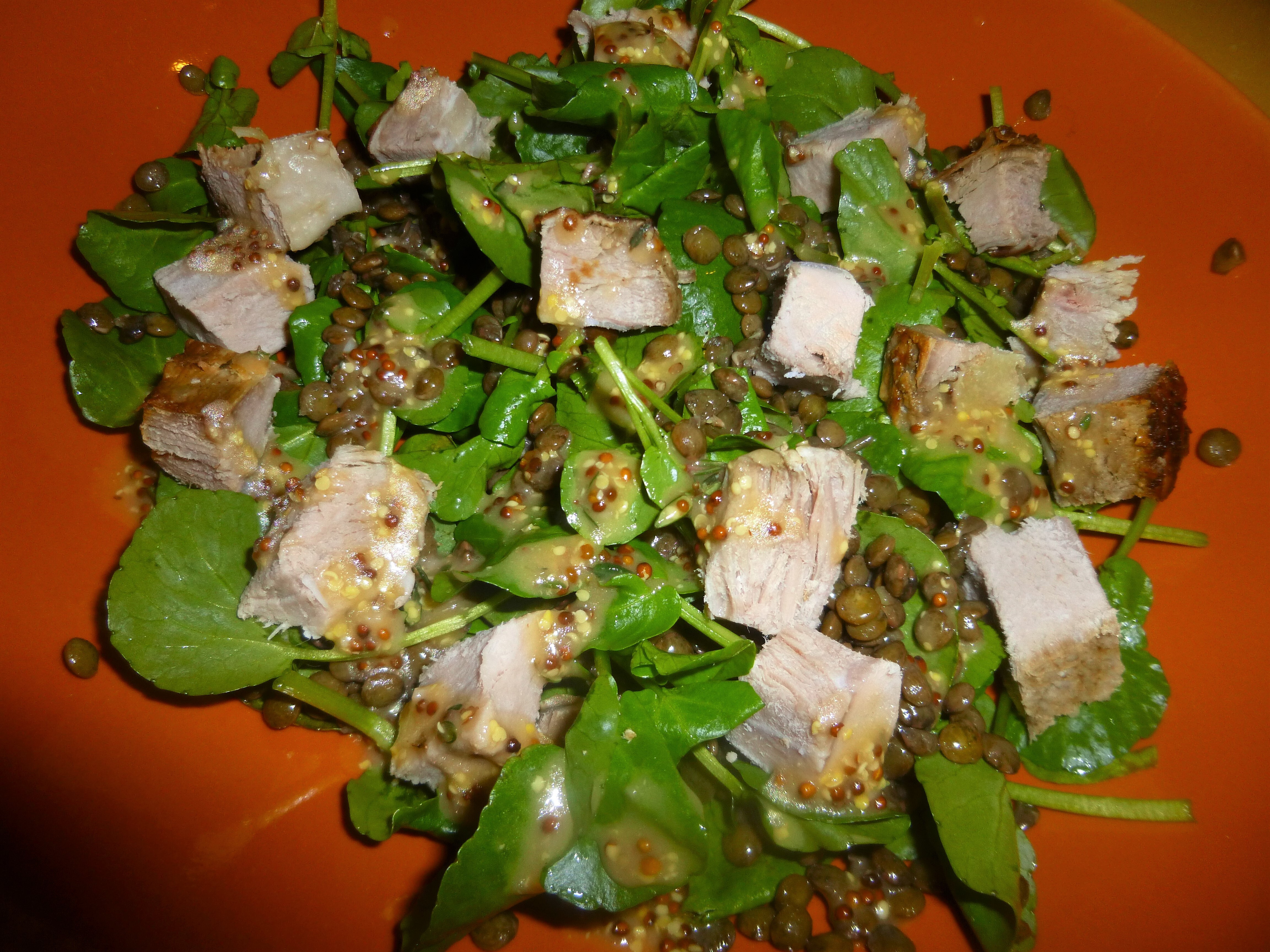 Simple Left Over Roast Beef, Lentil and Watercress Salad with a Mustard and Thyme Dressing Recipe