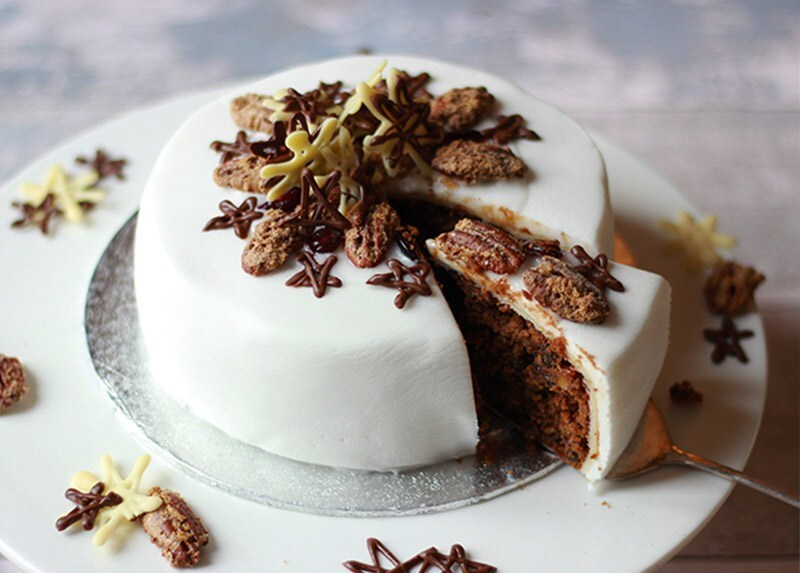 Properfoodie's Christmas cake decorated with sugared pecans and chocolate stars