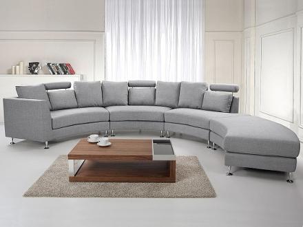 Rund divansoffa ljusgrå - soffa - tygsoffa - ROTUNDE