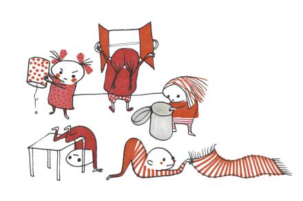 Fem Små Röda Letar Efter Föda Fototapeter & Tapeter 100 x 100 cm